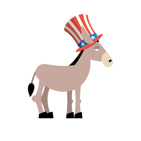 Donkey Democrat. Donkey in Uncle Sam hat. Symbol of political party in America. Political illustration for elections in America. National Patriotic hat in America Illustration