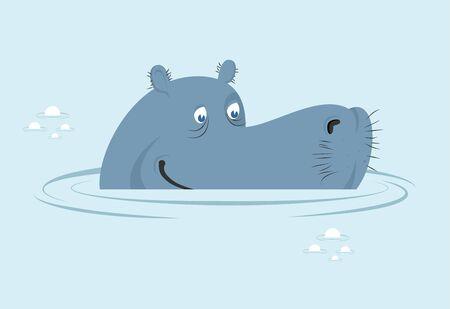 hippo: Hippo in water. Big fat hippopotamus  in swamp. Cute hippo head in water basin. Wild African animals. River-horse Illustration