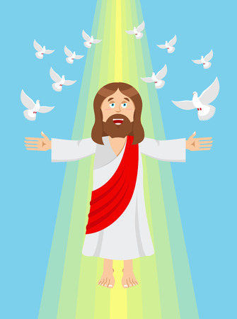 hand free: Jesus and pigeons. Ascension of Jesus Christ. Son of God in heaven. Resurrection of Jesus Christ. Bible character. Yellow divine ray of light