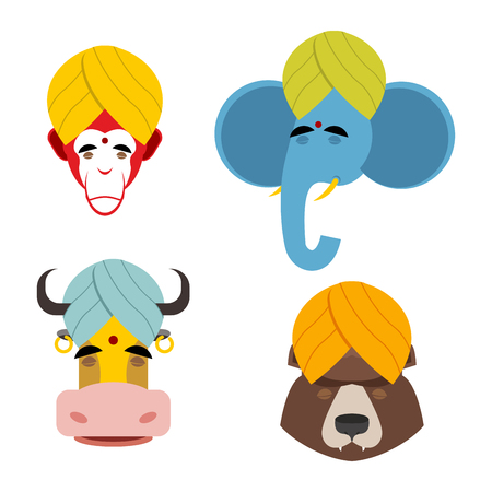 sacred: Sacred animals in turban. Sacred Indian elephant meditating. Sacred Indian cow. Sacred Indian monkey. Sacred Russian bear wearing turban