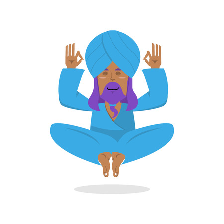 sadhu: Indian yogi meditates. Yogi on white background. Indian yoga. Good yogi in turban isolated. Human knowledge and enlightenment.