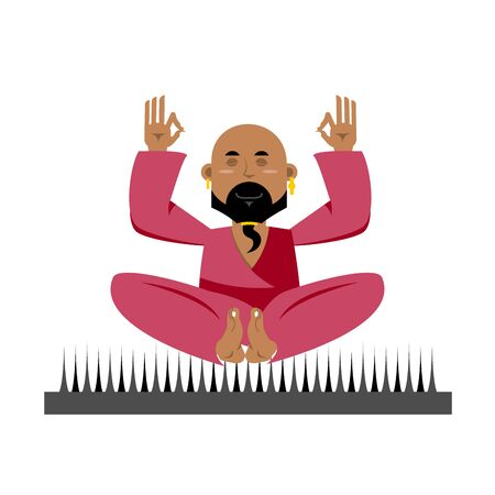 nirvana: Yogi on nails. Indian yogi sits on spike. nirvana Meditation Yoga. Man practicing yoga exercises. Yogi isolated. Yogi man on white background. Bald man with beard meditates