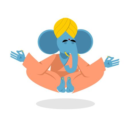 yogi: Lord Ganesha. Elephant yoga. Elephant yogi meditates. Blue Elephant is engaged in yoga. Animal meditating. Elephant in Indian turban. Elephant attained enlightenment. Elephant on white background. Yogi isolated. Animals yoga