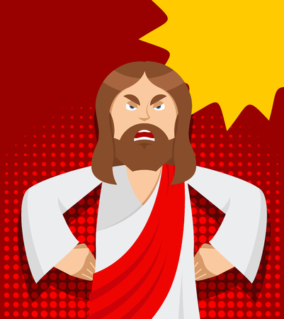 rage: Angry Jesus. Jesus is not satisfied. Angered by Jesus Christ. Gods son in rage. Biblical character in pop art style. Bubble for text Illustration
