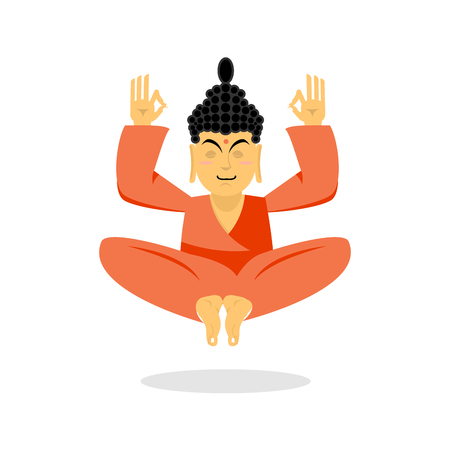 nirvana: Buddha meditating. Buddha on white background. Indian god buddha isolated. Status of nirvana and enlightenment. lotus Pose