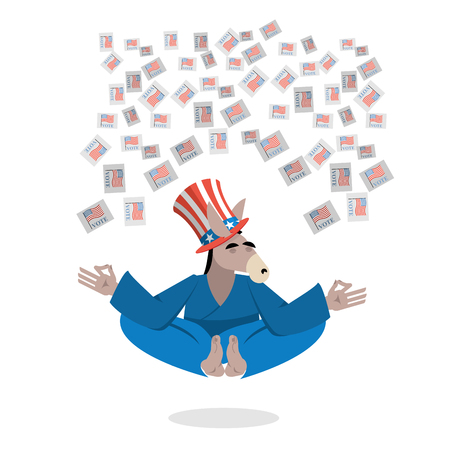 votes: Democrat Donkey hat Uncle Sam meditating votes in elections. Cheerful polytypical illustration. Symbol of political parties in America. Animals yoga