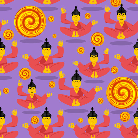hopper: Buddha seamless pattern. Seated Buddha in lotus position. Indian god texture. Ornament Buddha and enlightenment. Buddha and hopper - an infinity sign