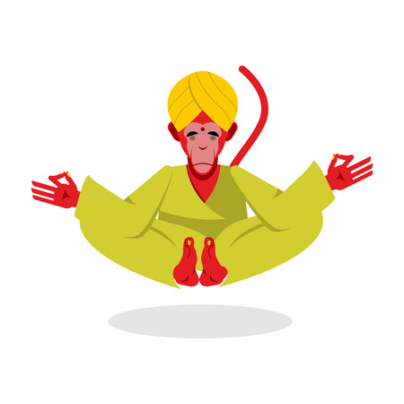 nirvana: Monkey Yoga. Monkey yogi meditates. Red monkey engaged in yoga. Animal meditating. Monkey in Indian turban. Monkey attained enlightenment. Monkey on  white background. Yogi isolated. Animal yoga. Monkey in Nirvana