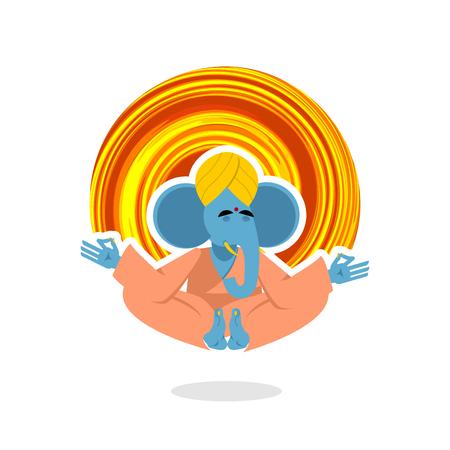 seigneur: Seigneur Ganesha. Elephant yogi m�dite. Blue Elephant est engag� dans le yoga. m�ditant animale. Elephant en turban indien. Elephant a atteint l'illumination. Elephant sur fond blanc. Yogi isol�. Elephant yoga. Animaux yoga Illustration