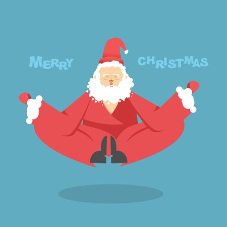 meditates: Santa Claus yoga. Christmas yoga. Santa Claus yogi meditates. Santa is engaged in Christmas yoga. Enlightenment is Santa Claus. Christmas illumination Illustration