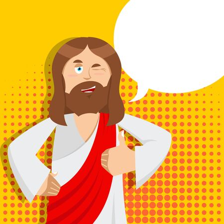 two thumbs up: Jesus hands shows thumbs upl. Son of God. Signs all right. Thumbs up. Hand showing ok. Gesture of hand. Jesus Christ of Bible character. Biblical man Illustration