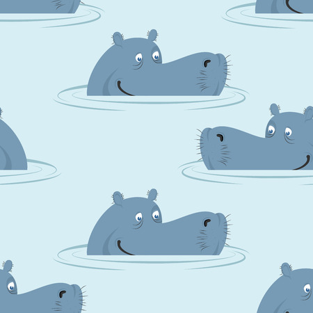 swamp: Hippo in water seamless pattern. Good hippopotamus  in swamp texture. Ornament for baby cloth. African animal ornament