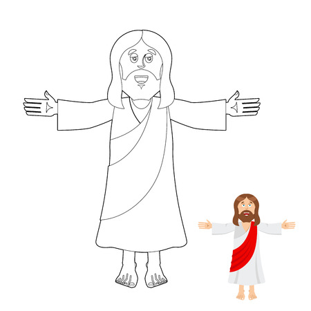 Jesus coloring book. Jesus christ drawing for children. Linear biblical people. Son of God of Christians and Catholics