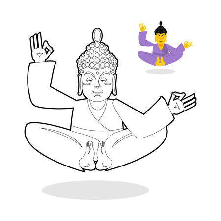 nirvana: Buddha coloring book. Buddha meditating. Indian god buddha on white background. Status of nirvana and enlightenment. Buddha sitting in lotus pose. Childrens coloring book Illustration