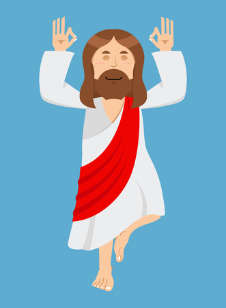 holy book: Jesus Christ is engaged in yoga. Jesus in lotus position. Cheerful Jesus. Catholic biblical character. Son of God. Christian character of holy book. Holy man