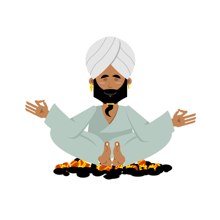석탄에 요기. 뜨거운 불길에 앉아 인도 요기. 명상 요가. 남자는 요가 연습을 연습. 요기입니다. 흰색 배경에 요기 남자. 그의 터번 인도 요기 일러스트