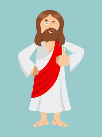 all right: Jesus hands shows thumbs upl. Son of God. Signs all right. Thumbs up. Hand showing ok. Gesture of hand. Jesus Christ of Bible character. Biblical man Illustration
