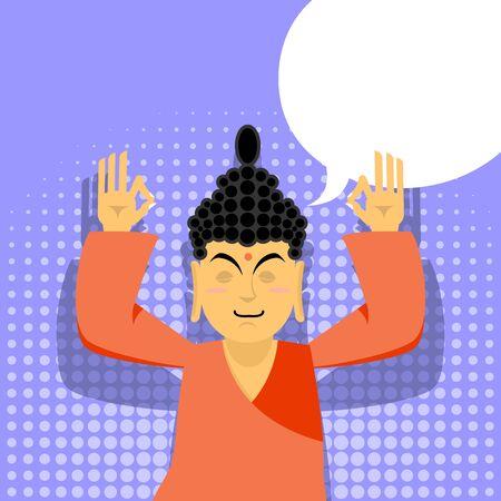 buddha head: Buddha meditating. Buddha in pop art style. Indian god buddha on purple background. Status of nirvana and enlightenment.