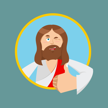 Jesus hands shows thumbs upl. Son of God. Signs all right. Thumbs up. Hand showing ok. Gesture of hand. Jesus Christ of Bible character. Biblical man Illustration