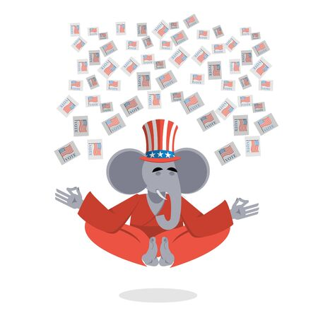 votes: Republican Elephant hat Uncle Sam meditating votes in elections. Cheerful polytypical illustration. Symbol of political parties in America. Animals yoga
