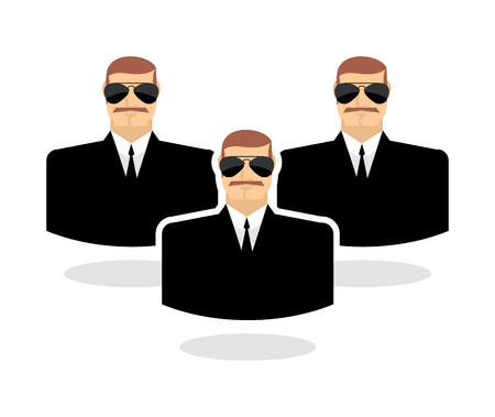 security guard man: Security man Icon. guard. Bodyguards. Man in sunglasses and black suit Illustration