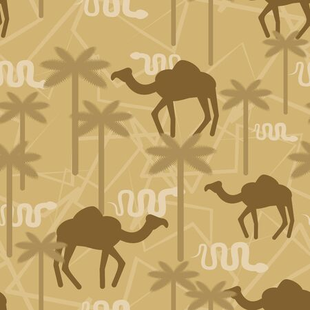 Camel and snake Military camouflage background. Desert Protective seamless pattern. Beige Army soldier texture for clothes