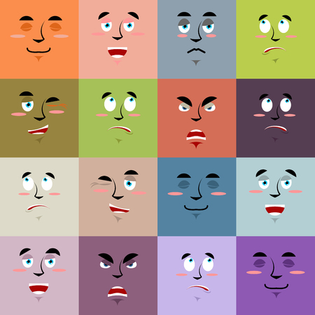 personality: Cartoon faces emoji seamless pattern. Set texture of emotions. Cheerful personality and sad person ornament