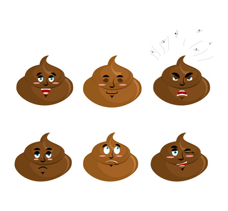 cal: Set poop emotion. Cheerful and angry turd. Surprise and sadness cal. Sleepy excrement. Collection of emoticons faeces. Stool on white background Illustration
