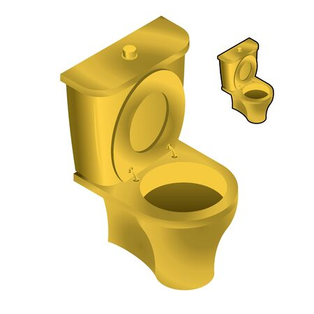 urine: Gold toilet bowl isometric illustration on white background. Sink in toilets made of gold for flow of urine and feces isolated. Illustration