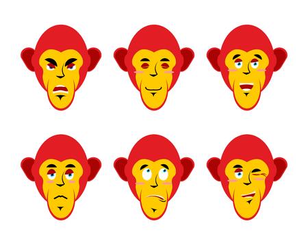 chimpances: Set con emociones monos. mono alegre y enojado. La sorpresa y tristeza chimpanc�s. mono sue�o. Colecci�n de emoticonos primates. cabeza de mono en el fondo blanco