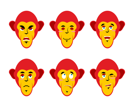 chimpanzees: Set with emotions monkeys. Cheerful and angry monkey. Surprise and sadness chimpanzees. Sleepy monkey. Collection of emoticons primates. monkey head on white background
