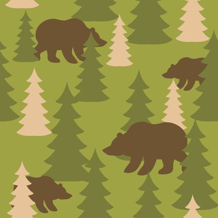 Military camouflage background bears in woods. Wild Beasts and trees Protective seamless pattern. Army soldier texture for clothes. Ornament for hunter. Soldier khaki ornament Vettoriali