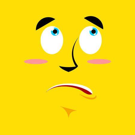 pitiful: Cartoon surprised face on yellow background. Discouragement emotion. Personality confused. Pitiful face. perplexed  character Illustration