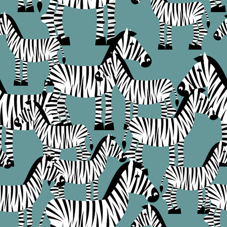 animal texture: Zebra seamless pattern. Savannah Animal ornament. Wild animal texture. Striped white animal zebra on green background. ornament for kids fabric Illustration