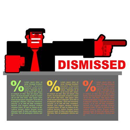 Respinto. Infografica di licenziamento. Red arrabbiato Bos punta a porta. Angry direttore grida sparato. Scontento capo e ampia scrivania. Uomo spaventoso giura
