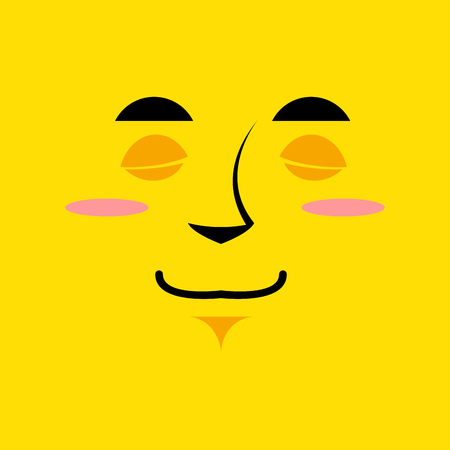 soulful: Cartoon cute face an yellow background. Gaiety emotion. Sleeping with broad smile. Cheerful Festive character. soulful personality Illustration