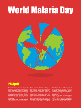 malaria: World Malaria Day. Poster for international holiday of April 25. Planet earth and silhouette of malaria mosquito