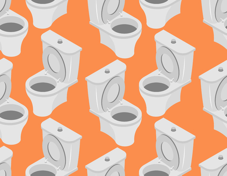 urinate: Toilet seamless pattern. Accessory to toilet ornament on an orange background Illustration