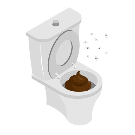 stench: Dirty toilet isolated. Shit in toilet. Turd in toilet. Latrine. Stench and flies Illustration