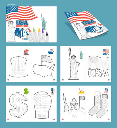 uncle sam hat: USA coloring book. Patriotic illustrations. National Symbols America. Uncle Sam hat and map of ountry. Statue of Liberty and USA flag. dollar symbol and boxing glove. National socks and astronaut on moon