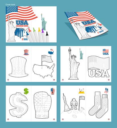 Usa Coloring Book Patriotic Illustrations National Symbols