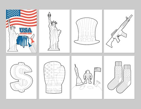 uncle sam hat: USA coloring book. Patriotic Illustrations in linear style of painting. Statue of Liberty and Uncle Sam hat. first astronaut on moon. Socks with national flag of America. Sign dollar and boxing glove Illustration