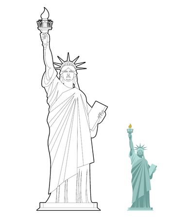 democracy: Statue of Liberty coloring book. Symbol of freedom and democracy in USA. Monument of architecture in  linear style. Sculpture in New York