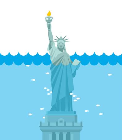 Freiheitsstatue Flut. USA Attraktion unter Wasser. Amerikanisches Symbol mit Wasser gefüllt. Fische schwimmen im Ozean. Disaster in New York Vektorgrafik