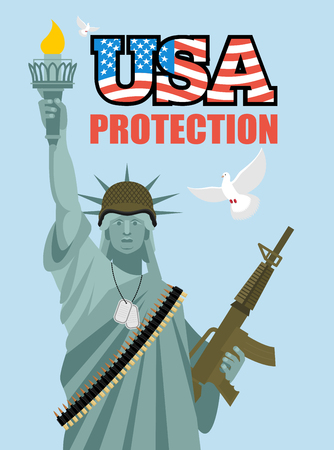 munition: Statue of Liberty and automatic. Military sculpture in America. Dove symbol of peace. Statue of Liberty on protection of ountry. Sculpture in USA in New York Illustration