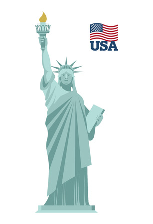 civic: Statue of Liberty in USA. National symbol of America. State attraction of country. Statue of Liberty on white background. famous sculpture in New york- freedom illuminating  world. Symbol of freedom and democracy