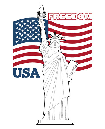 national landmark: Statue of Liberty and American flag. Symbol of freedom and democracy. Monument of architecture in New York. Patriotic illustration for Independence Day. National Landmark USA