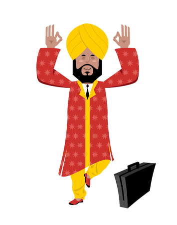 turban: Hindu meditating. Indian businessman in turban standing on one leg. Man from India in turban and national yoga suit. Indian business Yogi