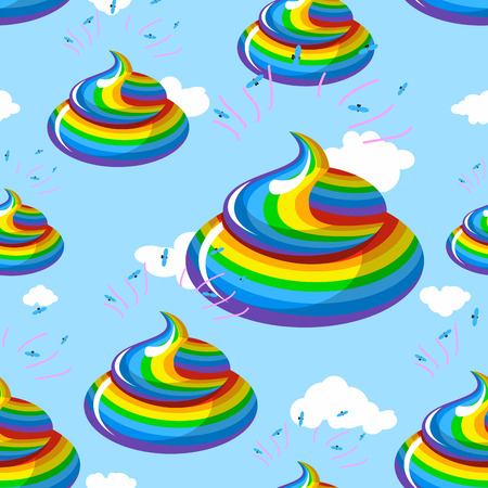 fantastic creature: Turd color rainbow background. Multicolored cal fantastic animal ornament. Mythical creature manure, poop and clouds