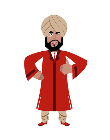 all right: Indian businessman shows well. Indians with beard. Sign all right. Thumbs up. Hand showing ok. Gesture of hand. Man from India in national dress and turban Illustration